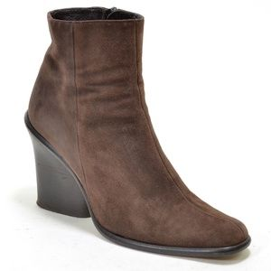 DKNY Brown Suede Zip Wedge Heel Booties 6.5 M